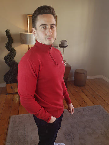 Red Half Zip Knitwear By Walker & Hunt