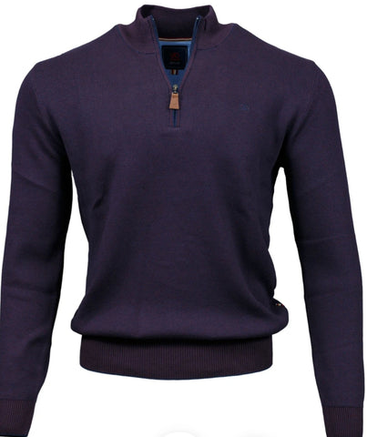 Clifden 1/4 Zip Purple Knitwear By Andre