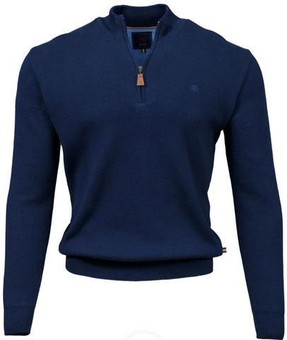 Clifden Navy 1/4 Zip Knitwear By Andre