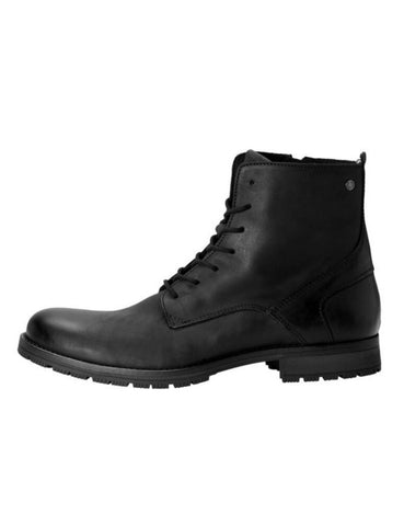 Worka Black Leather Boot By Jack & Jones