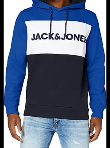 Logo Blocking Blue Hoodie By Jack & Jones