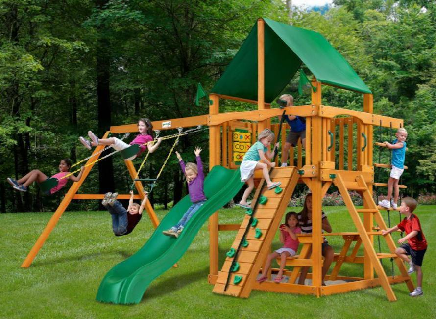 Hover to zoom & Gorilla Playsets Chateau Wooden Swing Set with Green Vinyl Canopy ...