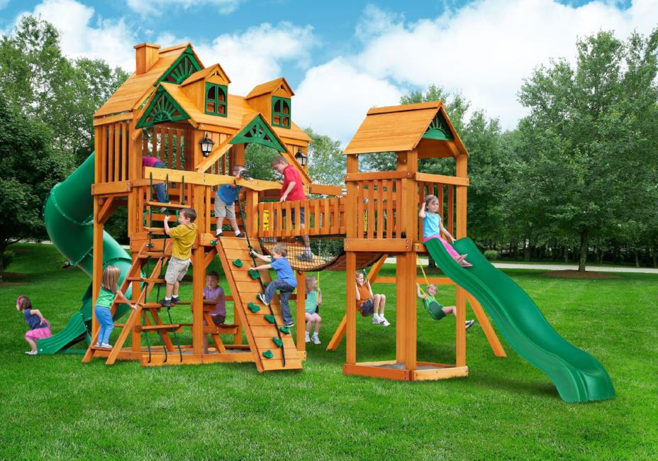 Gorilla Playsets Treasure Trove I Wooden Swing Set with Malibu Wood Roof, 2  Solar Wall Lights, and 2 Slides
