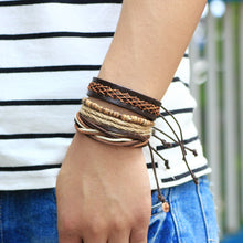 Woven Leather Rope Bracelet - 4 Piece