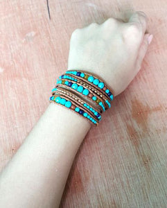 Graduated Stone BoHo Leather Bracelet