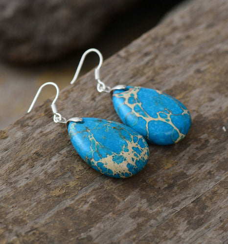 Natural Stone Teardrop Earrings