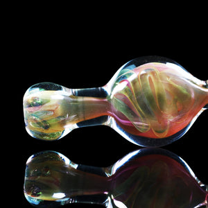 "4.5"" Gold and silver fumed inside out cane and twist spoon pipe with color carb - THE HIGHLIFERS"