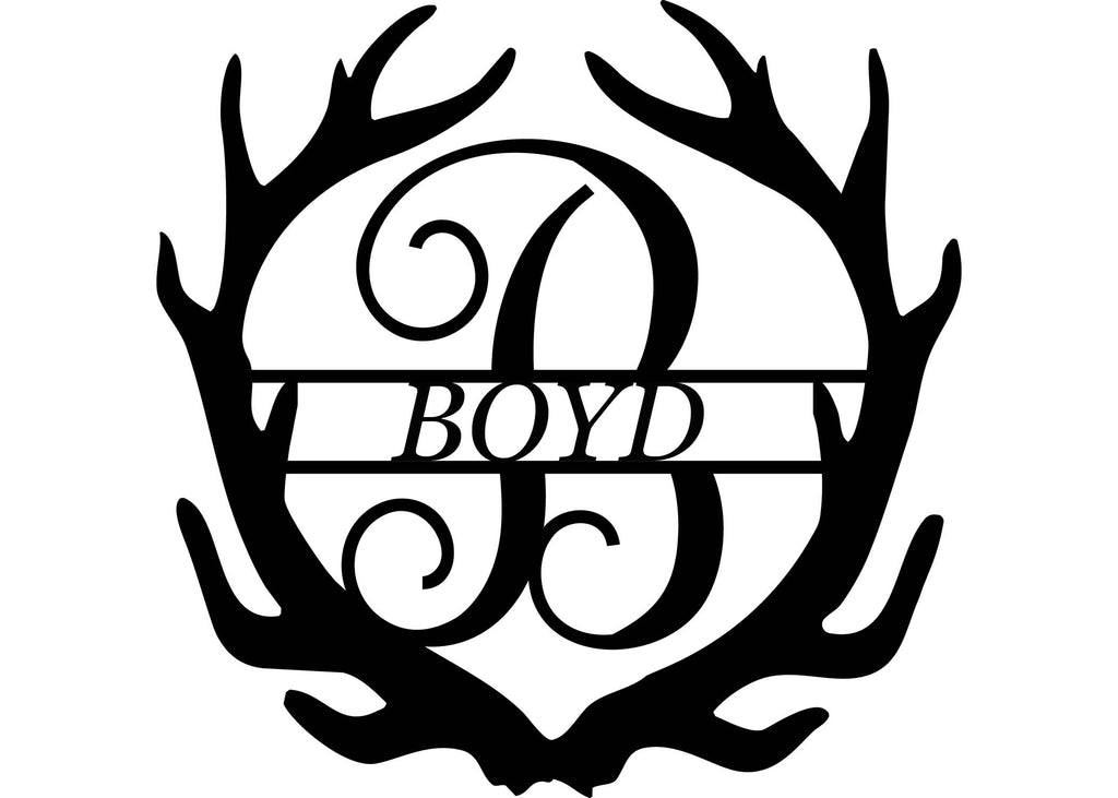 Personalized Metal Monogram with Antlers