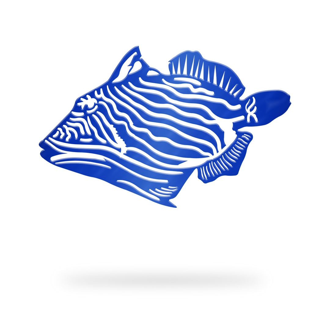 Trigger Fish Sign with blue finish