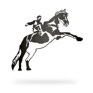 Horse with rider Sign with black finish