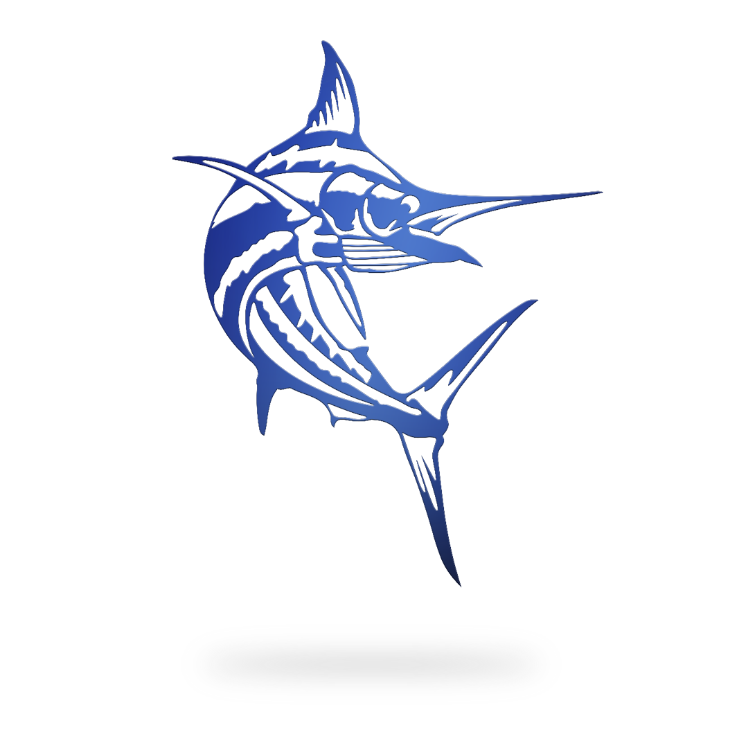 Swooping Marlin Sign with blue finish