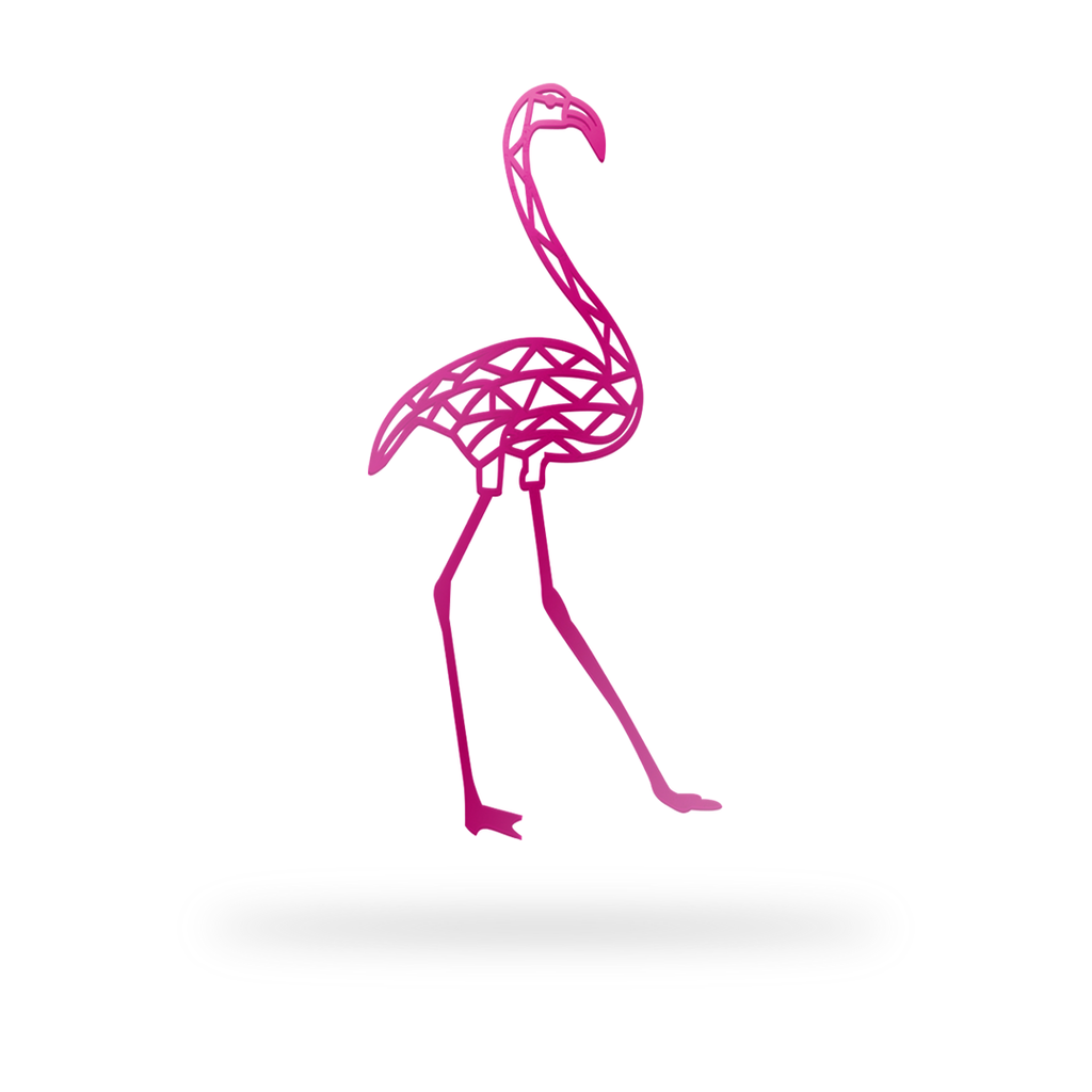 Geometric Flamingo Sign with pink finish
