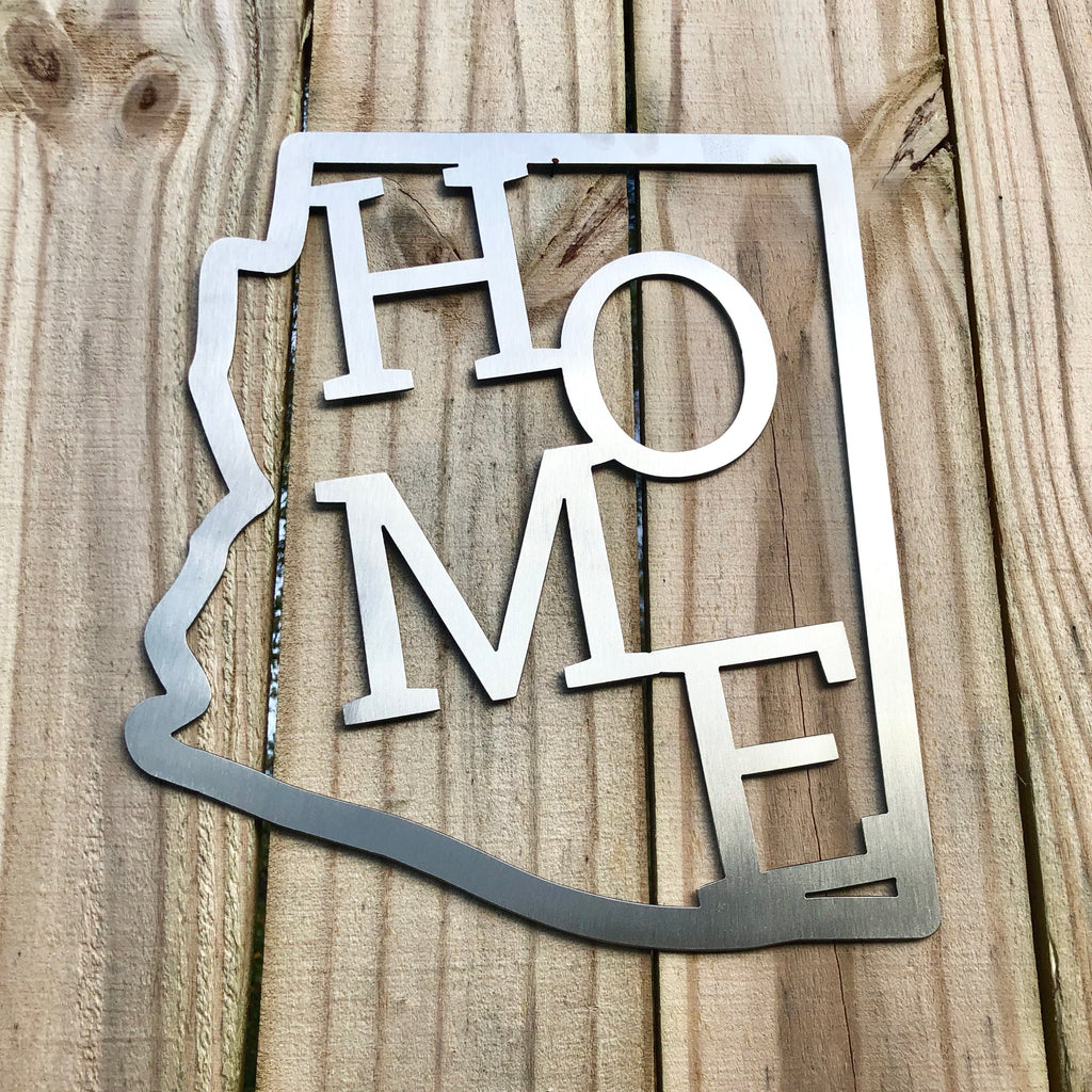 home sweet home metal state sign