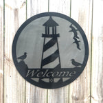 Welcome Sign with Lighthouse and Seagulls