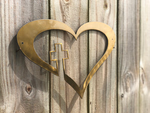 heart with cross metal sign