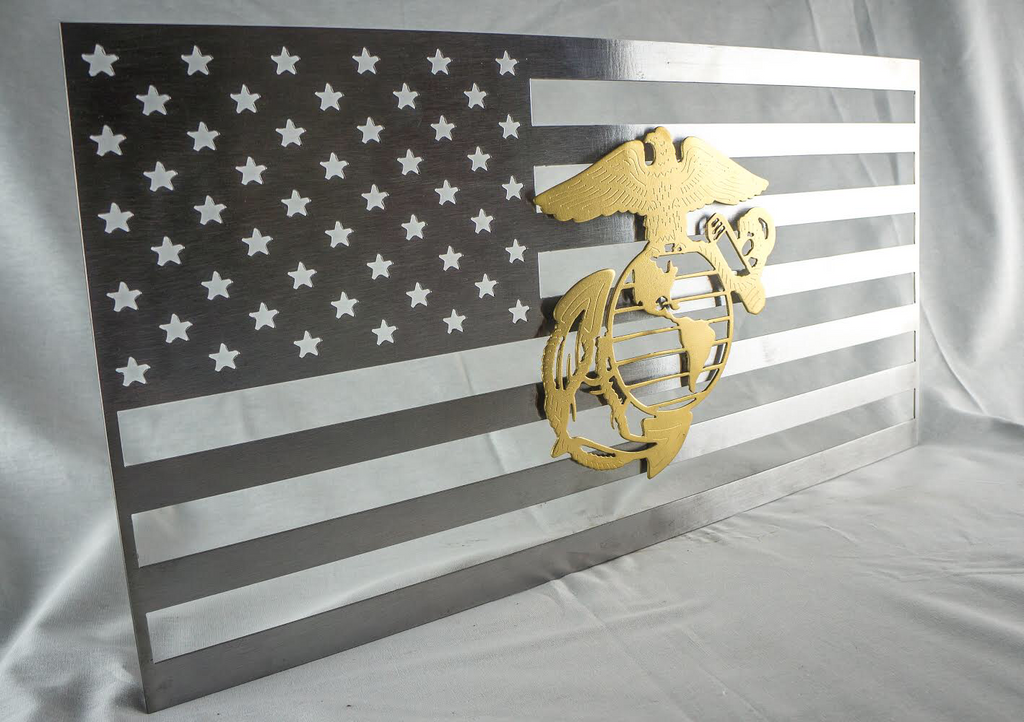polished metal United States flag with military logo