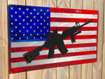 American flag with rifle sign