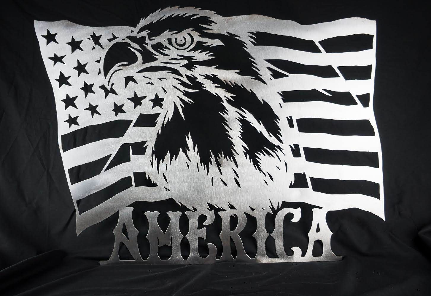 Metal American Flag Sign with Bald Eagle