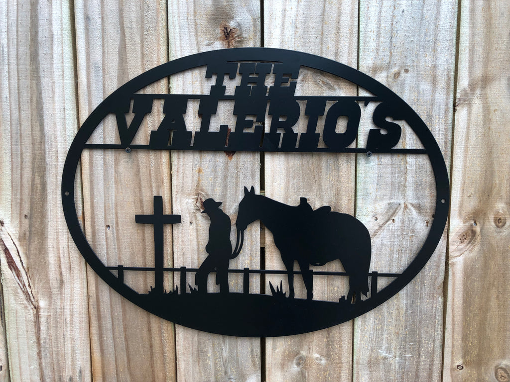 Custom Welcome Sign with Horse and Cross
