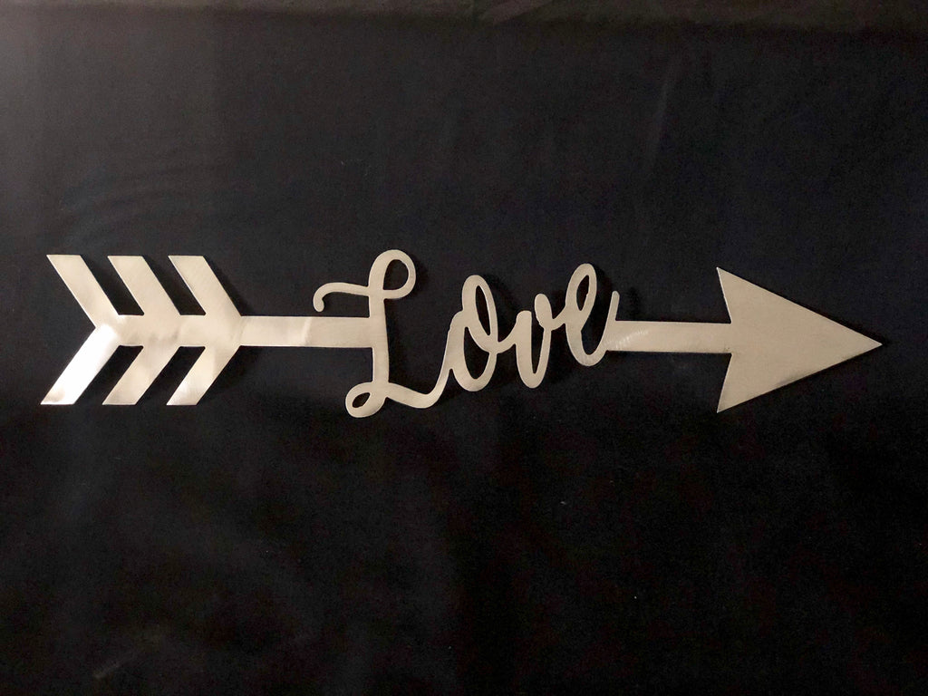 Love Arrow metal sign