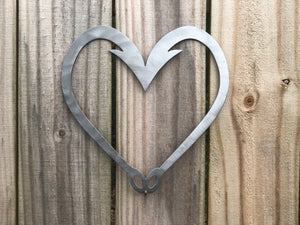 hook heart metal sign