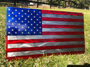 american flag metal sign