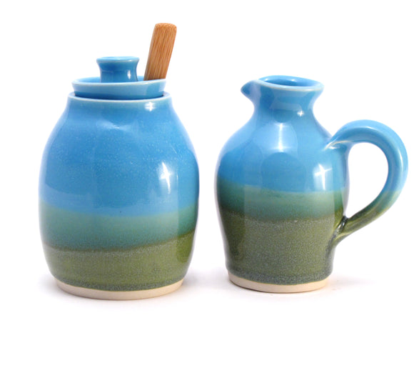 Aqua and Green Creamer and Sugar Bowl Set Ready to Ship