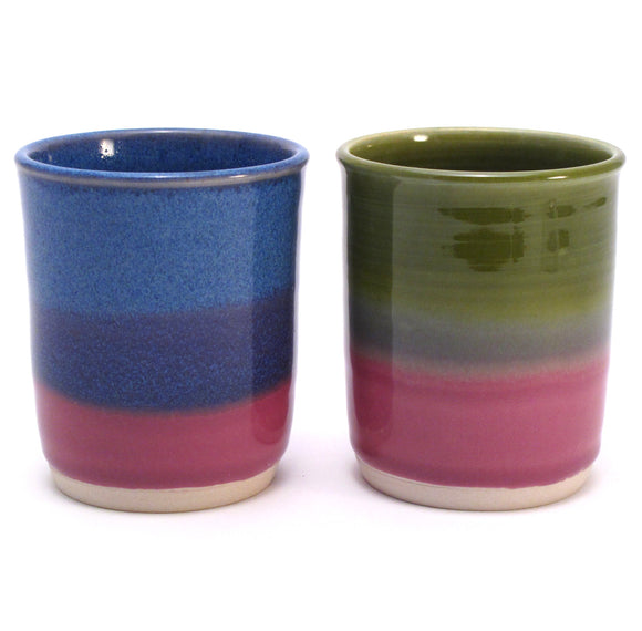 Pair of Blue, Green and Lilac Cups