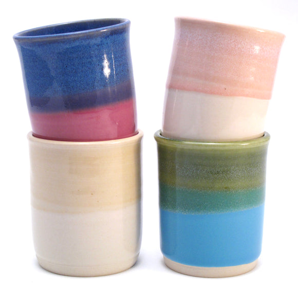 Set of Four Mismatched Cups in Blue, Green, Lilac, Aqua, Pink, Yellow and White