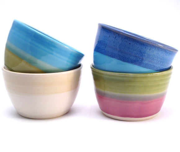 Set of Four Mismatched Cereal Bowls in Blue, Green, Aqua, Lilac, White, Yellow