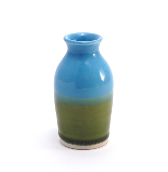 Aqua and Green Bud Vase