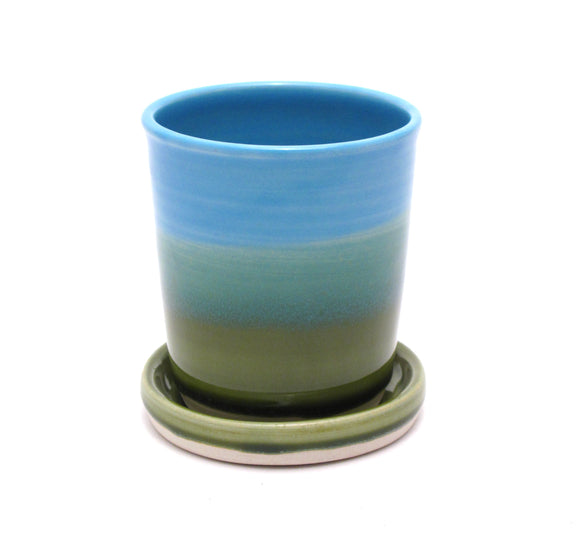Aqua and Green Starter Plant Pot 3.5