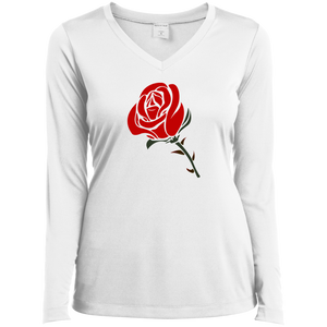 LST353LS Sport-Tek Ladies' LS Performance V-Neck T-Shirt / Roses