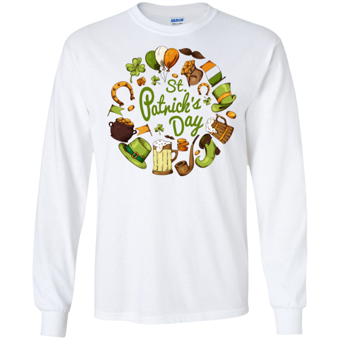 G240 Gildan LS Ultra Cotton T-Shirt / St.Patrick's Day Collage