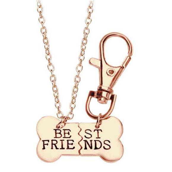 Gold Silver Color Dog Bone Best Friends Charm Necklace & Keychain - Metro Pit Trading Co.