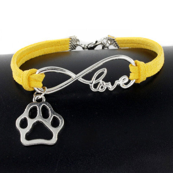 Paw Charms Pendant Leather Infinity Love Bracelet - Metro Pit Trading Co.