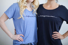 "Load image into Gallery viewer, Limited Edition ""I Am Courageous"" Slouchy Mirrorwear™ Embroidered Tee (Midnight Navy)"
