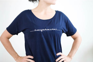 "Limited Edition ""I Am Courageous"" Slouchy Mirrorwear™ Embroidered Tee (Midnight Navy)"