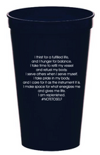"Load image into Gallery viewer, ""I Am Thirsty"" 22 oz. Navy Blue Affirmation Stadium Cup"