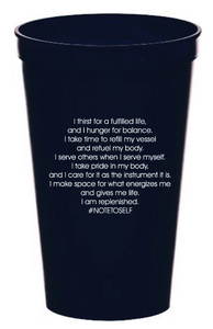 """I Am Thirsty"" 22 oz. Navy Blue Affirmation Stadium Cup"