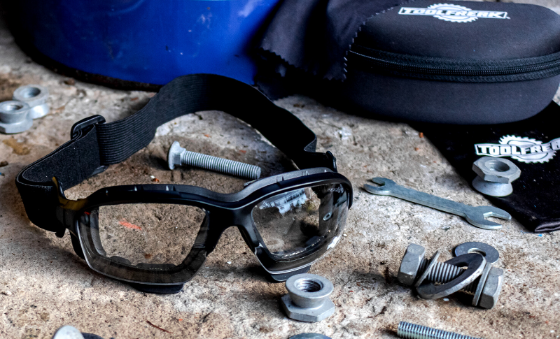 Custom Motorcycle Mechanic, Brick House Builds, reviews ToolFreak Safety Glasses!