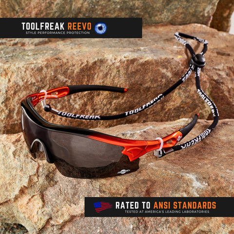 ToolFreak Reevo Safety/Sports Sunglasses Wraparound Distortion Free Dark Smoke Lenses, Rated to ANSI Z87+ with Impact and UV Protection, Hard Case, Neck Cord, Water Repellent Carry Pouch & Cloth 1