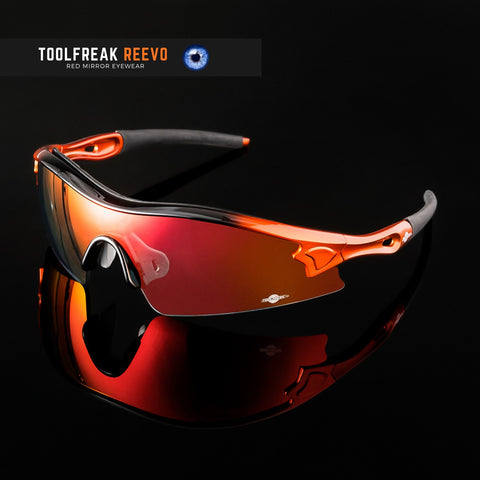ToolFreak Reevo Safety/Sports Sunglasses Wraparound Distortion Free Red Mirror Lenses, Rated to ANSI Z87+ with Impact and UV Protection, Hard Case, Neck Cord, Water Repellent Carry Pouch 100