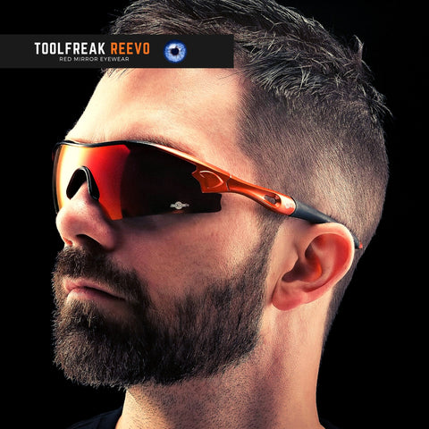 ToolFreak Reevo Safety/Sports Sunglasses Wraparound Distortion Free Red Mirror Lenses, Rated to ANSI Z87+ with Impact and UV Protection, Hard Case, Neck Cord, Water Repellent Carry Pouch 5
