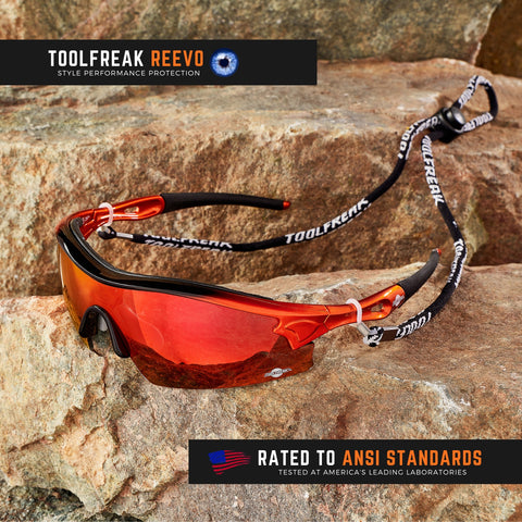 ToolFreak Reevo Safety/Sports Sunglasses Wraparound Distortion Free Red Mirror Lenses, Rated to ANSI Z87+ with Impact and UV Protection, Hard Case, Neck Cord, Water Repellent Carry Pouch 1