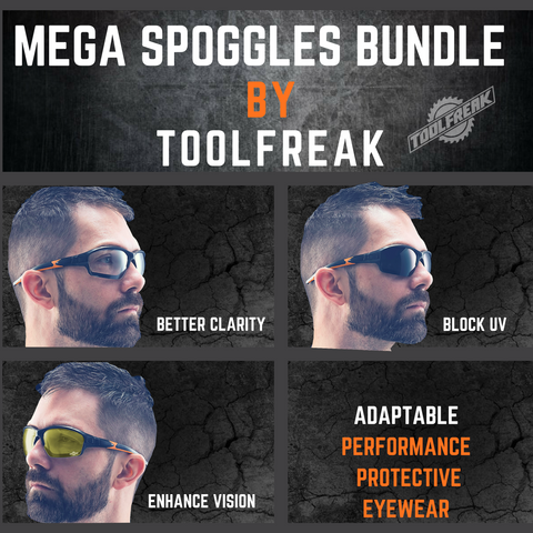 ToolFreak Spoggles Work & Sports Safety Glasses, Clear, Smoke & Yellow Tinted Lens Mega Bundle Offer, Foam Padded, ANSI z87 Rated with Impact & UV Protection 9