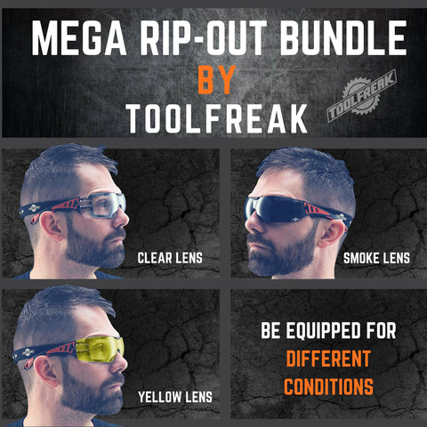 ToolFreak Rip Out Work & Sports Safety Glasses Clear, Smoke & Yellow Tinted Mega Bundle Offer, Foam Padded, Impact and UV Protection 1