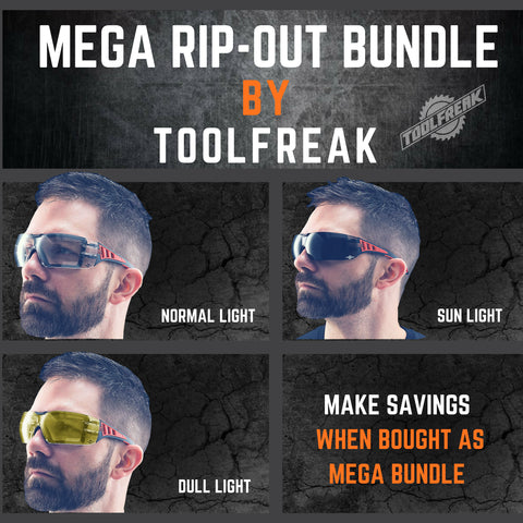 ToolFreak Rip Out Work & Sports Safety Glasses Clear, Smoke & Yellow Tinted Mega Bundle Offer, Foam Padded, Impact and UV Protection 6