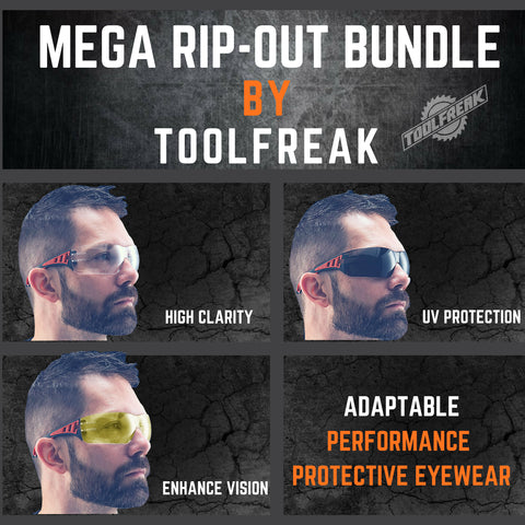 ToolFreak Rip Out Work & Sports Safety Glasses Clear, Smoke & Yellow Tinted Mega Bundle Offer, Foam Padded, Impact and UV Protection 7