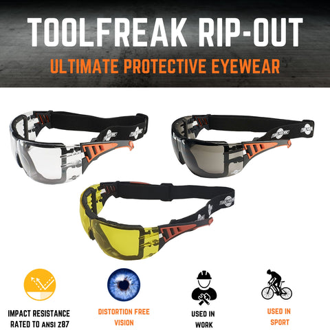 ToolFreak Rip Out Work & Sports Safety Glasses Clear, Smoke & Yellow Tinted Mega Bundle Offer, Foam Padded, Impact and UV Protection 12